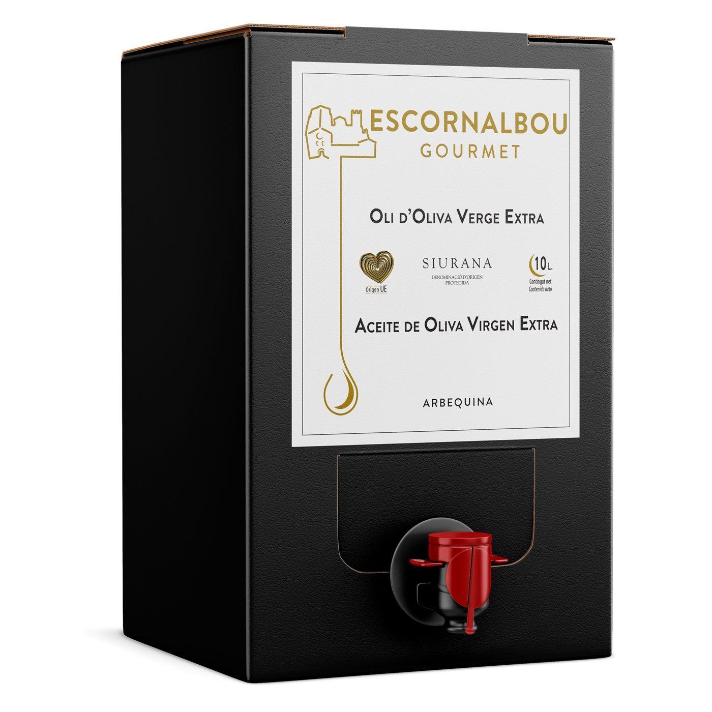 Comprar 10L Aceite De Oliva Virgen Extra 100% Arbequina - Bag In Box | Escornalbou Gourmet - Conserva tu AOVE en óptimas condiciones con el envase Bag In Box. Como si lo abrieras por primera vez cada vez que lo usas.