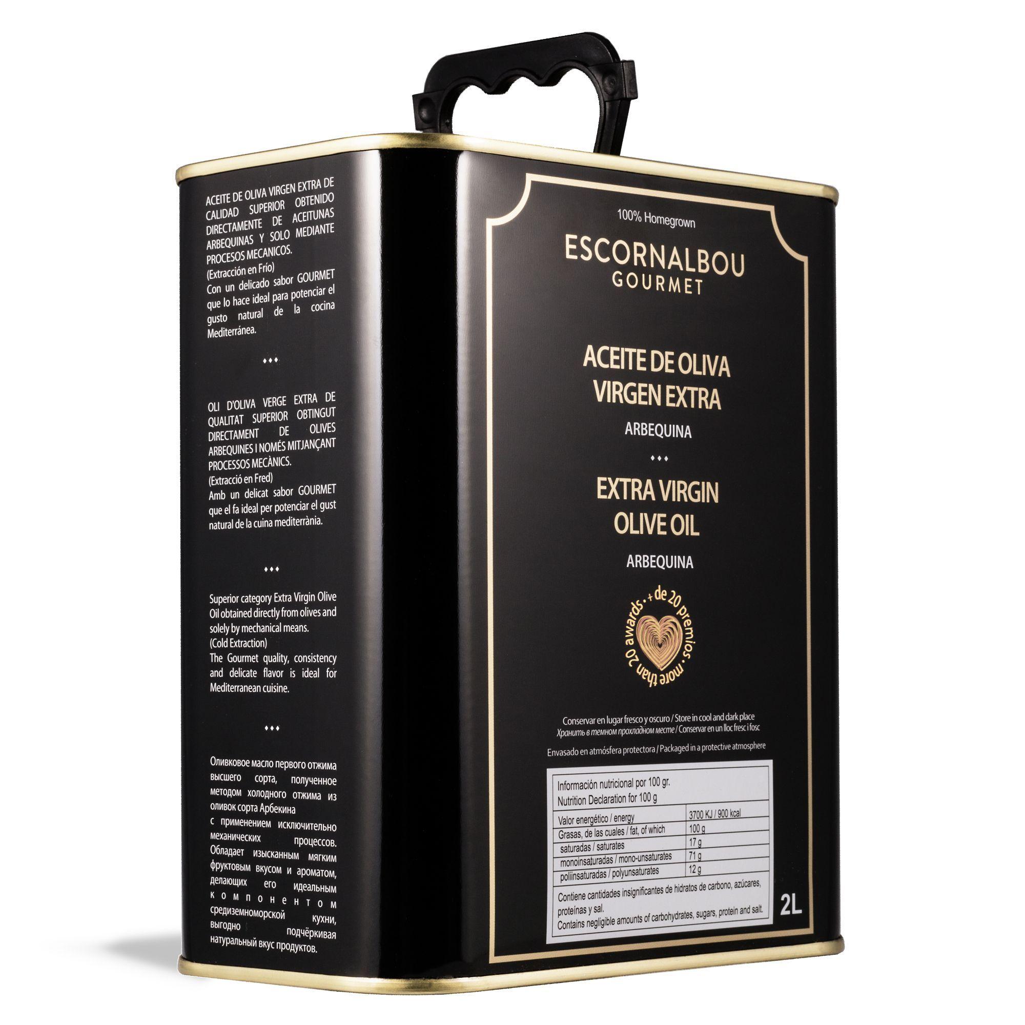 Lata INOX de AOVE con acabado premium de 2L. Aceite De Oliva Virgen Extra 100% Arbequina – Escornalbou Gourmet. Producto con propiedades cardiosaludables. Más de 20 premios.