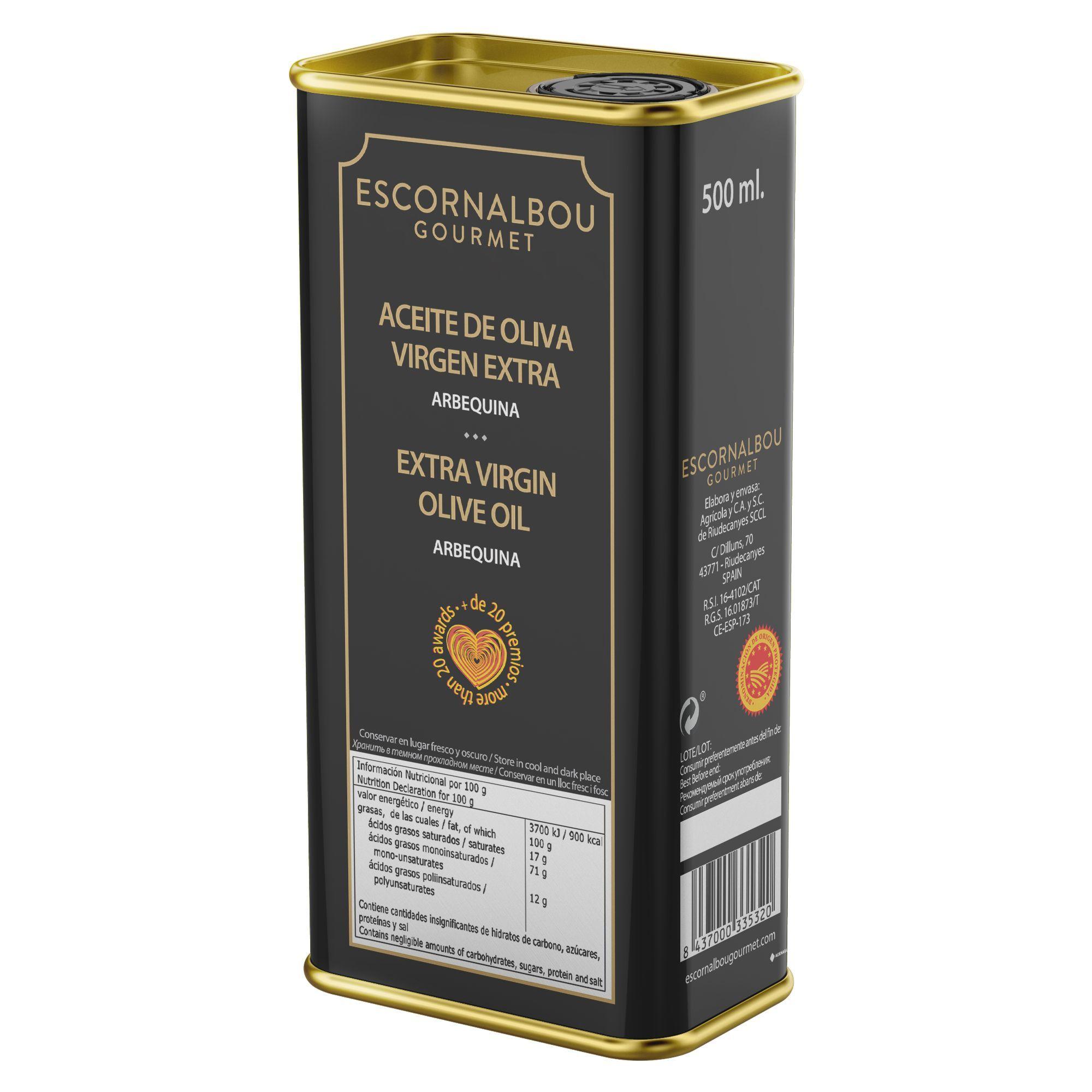 500 ml Aceite De Oliva Virgen Extra 100% Arbequina – Lata INOX de acabado premium. Producto cardiosaludable. Más de 20 premios.