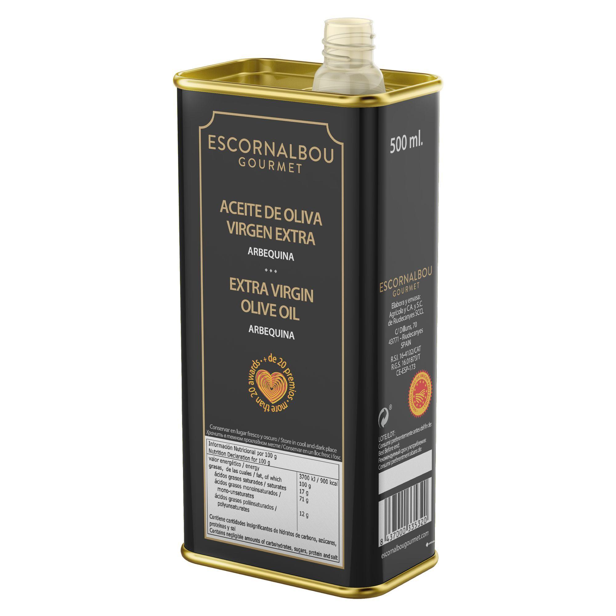 Detalle del dispensador de la lata INOX de acabado premium de 500 ml del Aceite De Oliva Virgen Extra 100% Arbequina – Escornalbou Gourmert. Producto cardiosaludable. Más de 20 premios.