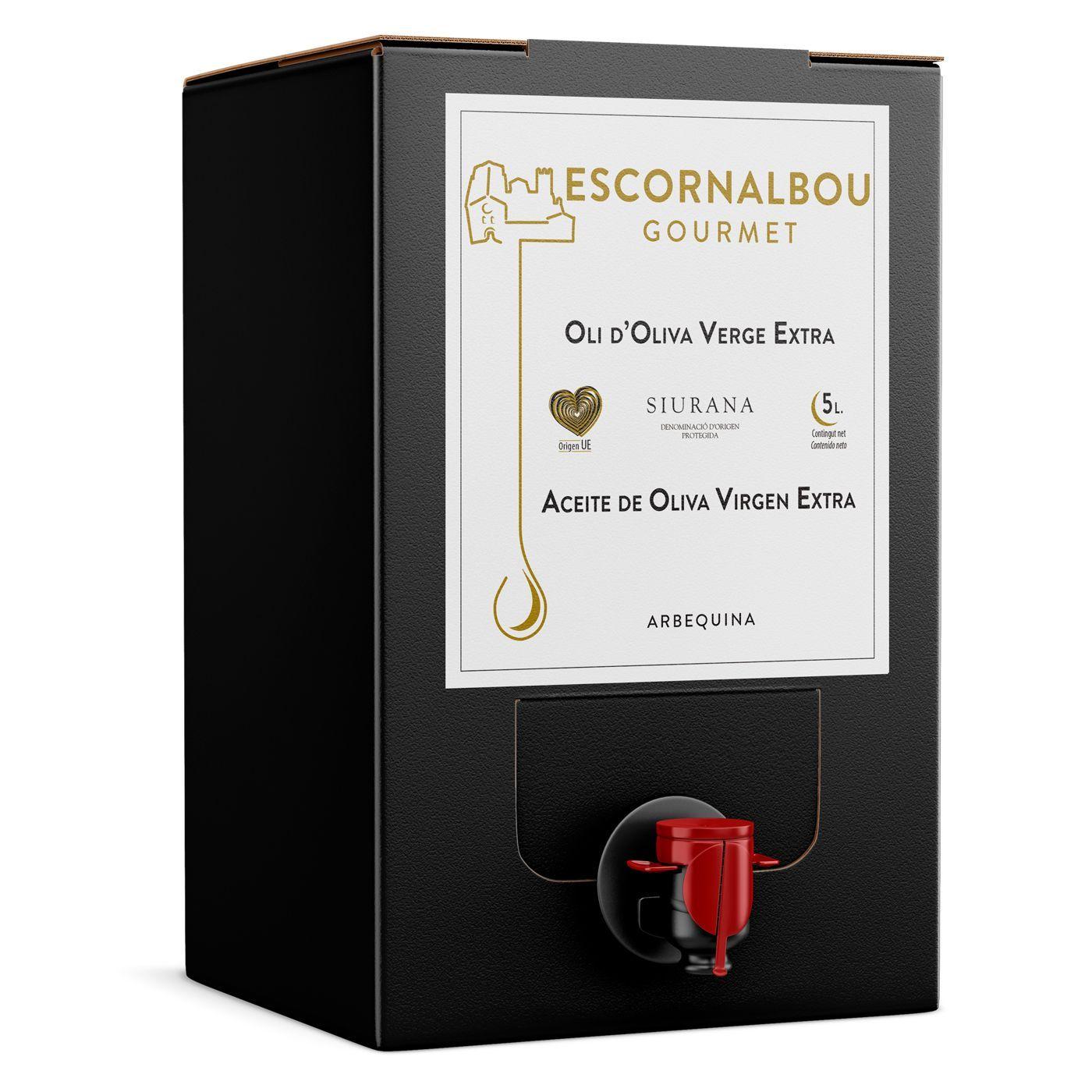 Comprar 5L Aceite De Oliva Virgen Extra 100% Arbequina - Bag In Box | Escornalbou Gourmet - Conserva tu AOVE en óptimas condiciones durante más tiempo con el envase BIB. Como si lo abrieras por primera vez cada vez que lo usas.