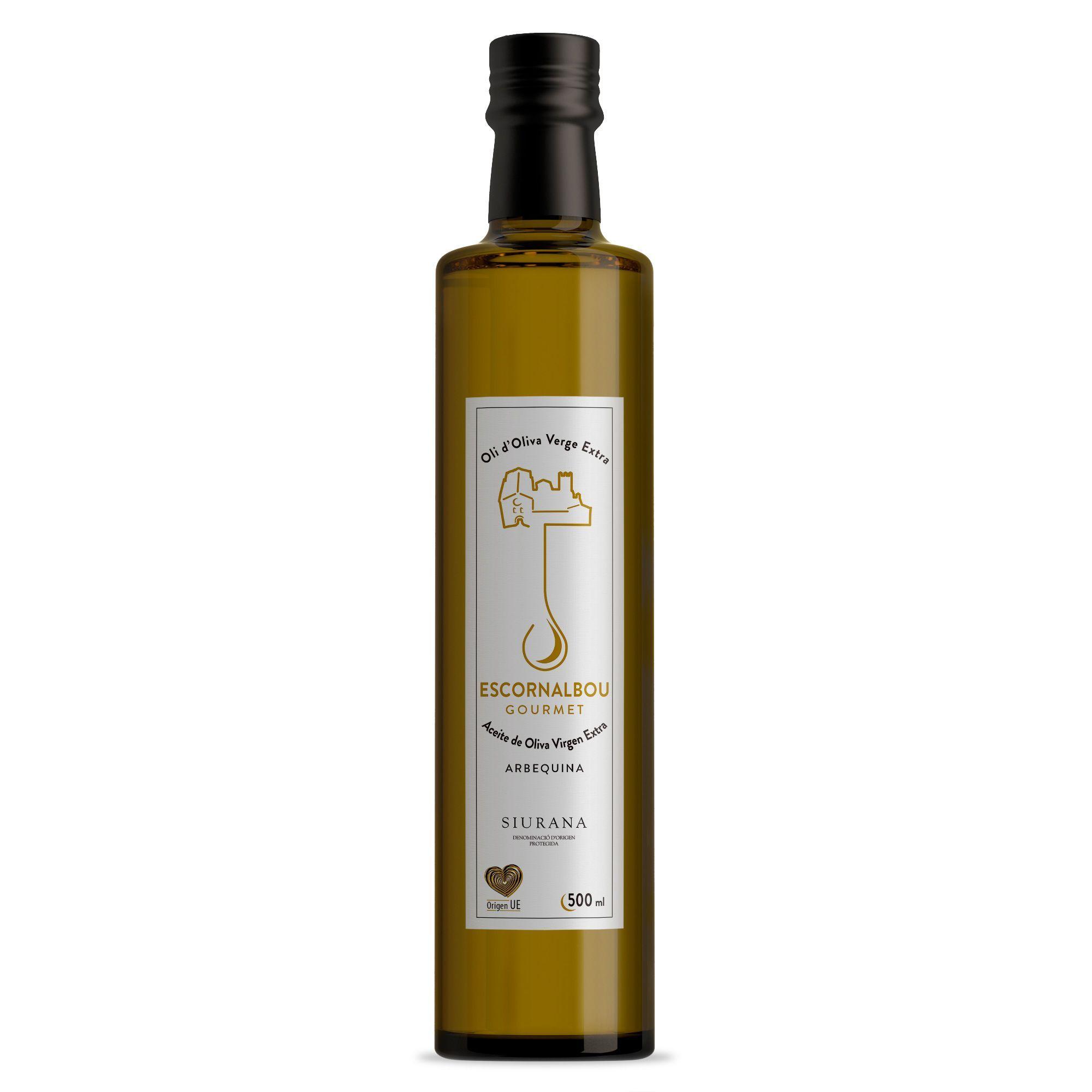 Comprar 500 ml Aceite De Oliva Virgen Extra 100% Arbequina - Botella De Cristal | Escornalbou Gourmet