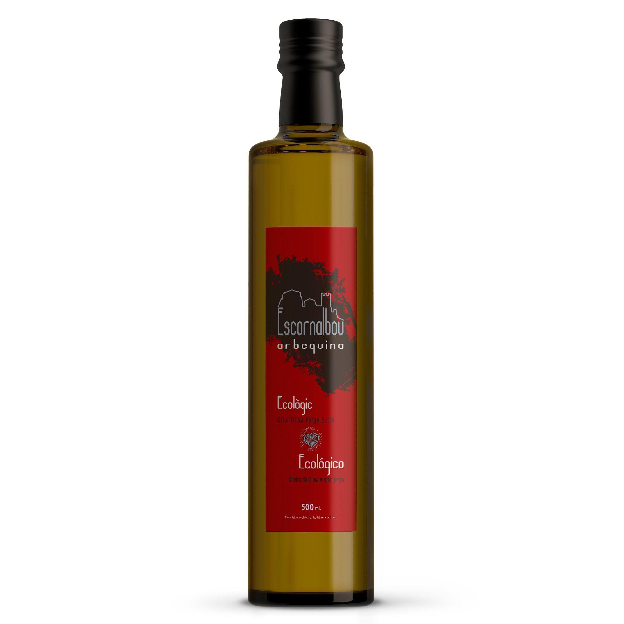 Comprar 500 ml Aceite De Oliva Virgen Extra Ecológico 100% Arbequina - Botella De Cristal | Escornalbou Gourmet ECO