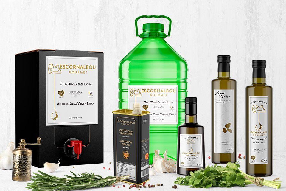 Diversos envases de diferentes capacidades para comprar aceite de oliva virgen extra 100% arbequina - Escornalbou Gourmet