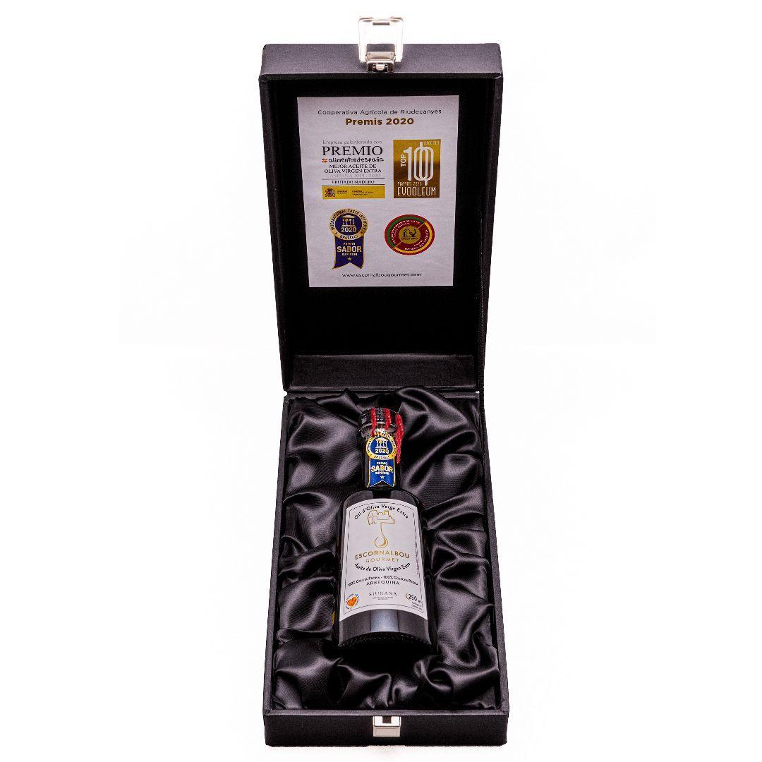 Comprar Estuche de Regalo Premium de 250 ml de Aceite De Oliva Virgen Extra 100% Arbequina - Garrafa PET | Escornalbou Gourmet