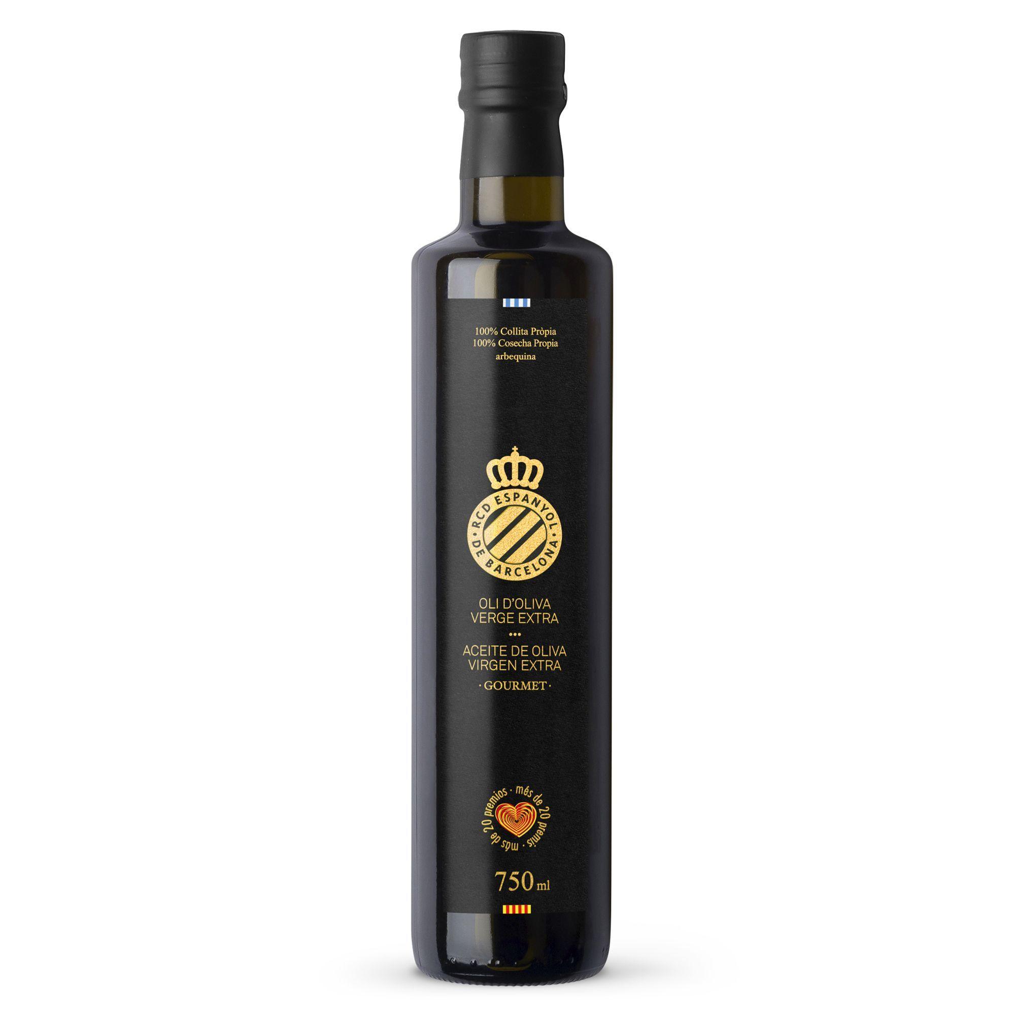 Comprar 750 ml Aceite De Oliva Virgen Extra 100% Arbequina - Botella De Cristal RCD Espanyol (Ed. Limitada) | Escornalbou Gourmet